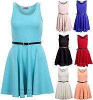 Ladies Smart Skater Belted Pleated Skirt Mini Party Top Women's Dress 8 10 12 14