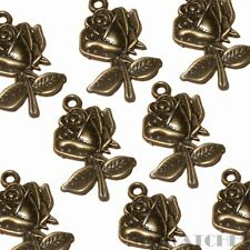 10 tibétain bronze antique rose fleur charme Pendentifs Perles Taille 25mmx17mm ts49