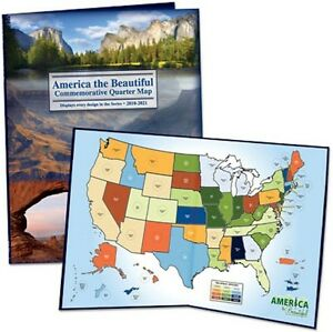 Best! 50 State National Parks Quarter Map Album Coin Collector Holder Quarters !