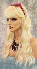 100% Heat Friendly Wig Long Straight  SLINKY BEACHY WAVE COLOR #613 BLONDE 1018