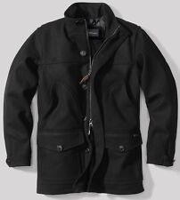 EDDIE BAUER Bulman Creek Mackinaw TRENCH COAT WOOL WINTER JACKET BLACK MEN L