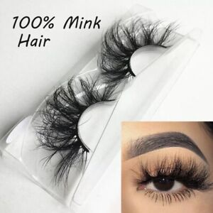 25MM EyeLashes 100%3D Mink Hair Eyelashes Thick Long Wispies Fluffies No glue