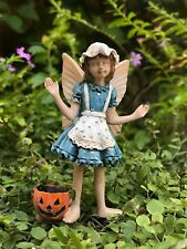 Miniature FAIRY GARDEN ~ Mini Girl Annie w HALLOWEEN Jack O'Lantern Pick ~ NEW