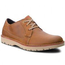 Clarks Vargo Plain Mens Dark Tan Casual Lace-up Shoes Size UK 7/41 G