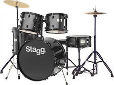 "STAGG TIM122B 5 Piece 22"" Complete Drum Set BLACK + Cymbals, Throne and Sticks"