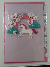 Hallmark Signature Birthday Card/Envelope ~  3D Unicorn w/ Rainbow Magical B-Day