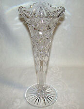 ABP American Brilliant Period Cut Crystal Trumpet Vase Maple City Glass Company