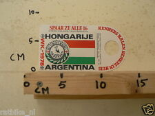 STICKER,DECAL WK ARGENTINA 1978 VOETBAL,SOCCER JH HENKES HONGARIJE HONGARY
