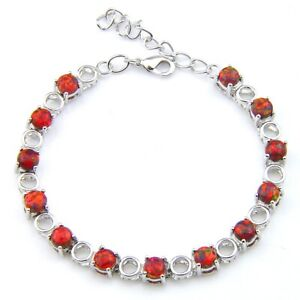 Handmade Special Round Red Fire Opal Gemstone Silver Charming Bracelets 8 Inch