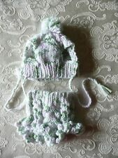 XXXXS handmade knit dog sweater dress & hat set
