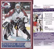 "Patrick Roy Colorado Avalanche Autographed Team Issue 4"" x 6"" Postcard JSA Cert."