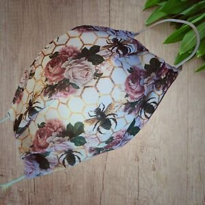 face mask Double Layered with fiter pocket ROSES AND BEES ...POSTED IN 24HRS