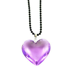Light Purple Heart Of Glass Pendant Necklace On Black Ball Chain charm