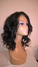 """14"""" #1b 6A Malaysian Curly Bob Style 150% Density Glueless Lace Front Wig"""