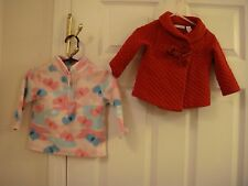Lot of 2 Baby Girls Jackets One Red Quilted and One Pink Fleece size 12 Mo