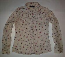 Womens miley cyrus brand ivory/floral long sleeve button down dress shirt sz m