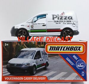 2019 Matchbox Power Grabs #86 Volkswagen Caddy Delivery WHITE / PIZZA / MOC