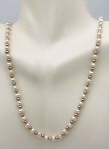 14kt Yellow Gold Beaded & Natural Pearl Necklace 18""