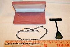 Frankl Trading Corp. Tahitian Black Pearls & 14 k Gold Necklace & Bracelet & Ear