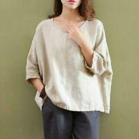 Womens Crew Neck Cotton Linen Blouse T-shirt Flax 3/4 Sleeve Loose Tops retro SZ