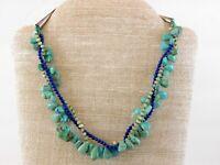 Vintage Southwestern Three Strand Gemstone Necklace 925 Turquoise Blue Lapis