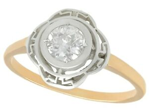 Antique Diamond and 14k Yellow Gold Silver Set Solitaire Ring Circa 1920