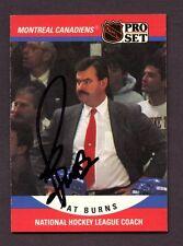1990-91 Proset # 669 Pat Burns  AUTO AUTOGRAPH