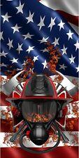 American flag firefighter fireman's helmet cornhole board game decal wraps