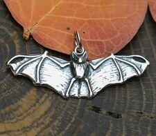 NOCTOR Sterling Silver Bat Pendant Necklace Charm Vampire Goth Nosferat Flying