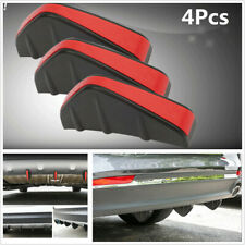 4Pcs Black+Red Rear Bumper Diffuser Fin Spoiler Lip Wing Splitter Protector Kits