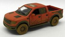 Ford F150 SVT Raptor - Muddy - Red - Kinsmart Pull Back & Go Metal Model Car