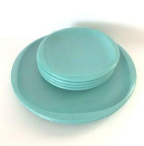 LOT 6 BOONTONWARE AQUA GREEN /  TURQUOISE & SPOTS DINNER & SALAD PLATES