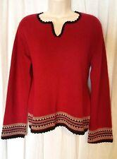 J.Jill Sz 8 Red Black Lambswool Angora Blend Pull Over Long Sleeve Woman Sweater