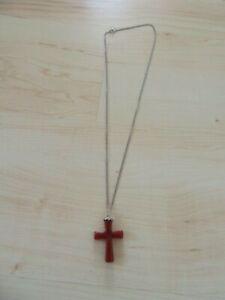 lange Halskette mit Kreuz-Anhänger, Modeschmuck, braun, ungetragen