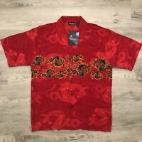 ODO Mens Dragon Print Red Button Shirt Polyester Short Sleeve Size L New