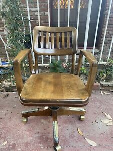 Antique SIKES bankers' chair, solid wood/cast iron. 1950's