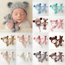 US Stock Newborn Baby Girls Boys Photography Prop Crochet Knit Costume Bear Hat