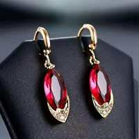 925 Sterling Silver Pomegranate Red Ruby Corundum Earrings UK Seller
