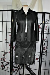 LEATHER SKIRT SUIT SEPARATE  BLACK L-XL
