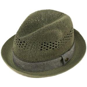 Men's Vented Summer Lightweight Derby Fedora Upturn Curl Brim Hat