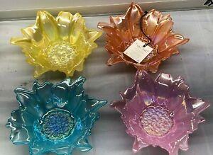 Akcam 4 pcs set Glass Dessert Flower Floral Bowl Iridescent New Yellow Blue Pink
