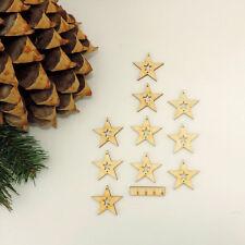 10 Stück Sterne mit Sternausschnitt Fensteraufhänger, Wanddeko Holz 3,5 cm