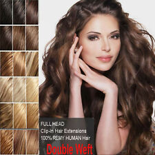 THICK Clip In Remy Human Hair Extensions Full Head Double Weft DIY Ombre 22 N086