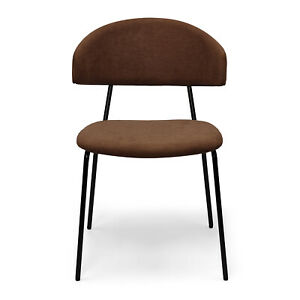 Eartha Modern Dining Chair with Matte Black Metal Legs for Kithchen, Living Room