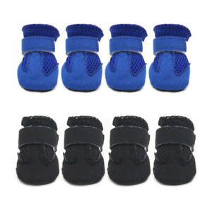 4 x Pet Dog Cat Boots Non-Slip Breathable Sock Shoes Puppy Feet Paw Protective