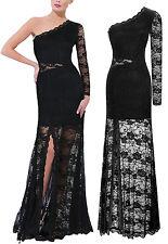 Vestito Lungo Pizzo Donna Una Manica - Woman Lace Maxi Dress One Sleeve 110140