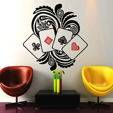 Poker Wall Decals Cards Decal Vinyl Sticker Bedroom Floral Art Home Decor NA318