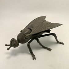 """Vintage Brass Fly Ashtray With Hinged Lid Man Cave Shed Bar Ornament 7"""""""