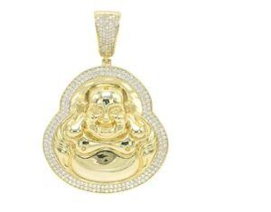 Big Oversize Bling Pave CZ Smiling Chubby Buddha 14K Gold Silver Finish Pendant