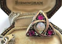VINTAGE DESIGN SIGNED MIRACLE CELTIC LOVE INFINITY KNOT OPAL GLASS DROP NECKLACE